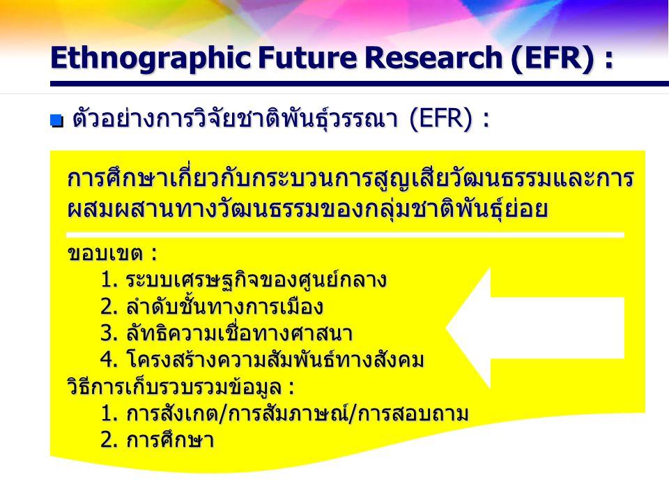 Ethnographic Future Research (EFR) : ตัวอย่างการวิจัยชาติพันธุ์วรรณา (EFR) : การศึกษาเกี่ยวกับกระบวนการสูญเสียวัฒนธรรมและการ ผสมผสานทางวัฒนธรรมของกลุ่