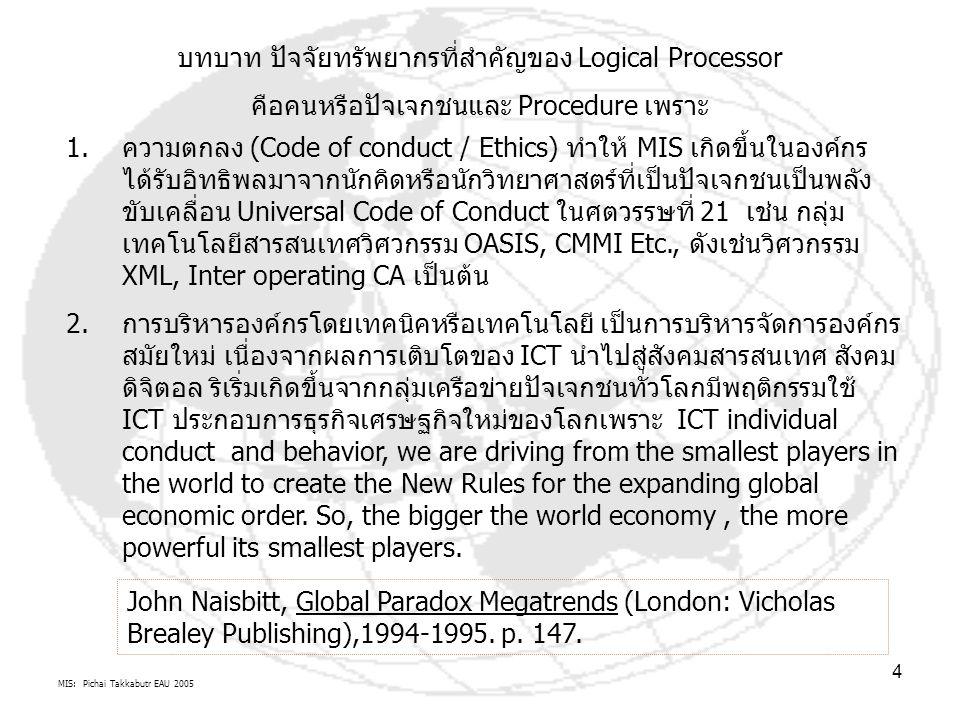 MIS: Pichai Takkabutr EAU 2005 4 บทบาท ปัจจัยทรัพยากรที่สำคัญของ Logical Processor คือคนหรือปัจเจกชนและ Procedure เพราะ 1.ความตกลง (Code of conduct / Ethics) ทำให้ MIS เกิดขึ้นในองค์กร ได้รับอิทธิพลมาจากนักคิดหรือนักวิทยาศาสตร์ที่เป็นปัจเจกชนเป็นพลัง ขับเคลื่อน Universal Code of Conduct ในศตวรรษที่ 21 เช่น กลุ่ม เทคโนโลยีสารสนเทศวิศวกรรม OASIS, CMMI Etc., ดังเช่นวิศวกรรม XML, Inter operating CA เป็นต้น 2.การบริหารองค์กรโดยเทคนิคหรือเทคโนโลยี เป็นการบริหารจัดการองค์กร สมัยใหม่ เนื่องจากผลการเติบโตของ ICT นำไปสู่สังคมสารสนเทศ สังคม ดิจิตอล ริเริ่มเกิดขึ้นจากกลุ่มเครือข่ายปัจเจกชนทั่วโลกมีพฤติกรรมใช้ ICT ประกอบการธุรกิจเศรษฐกิจใหม่ของโลกเพราะ ICT individual conduct and behavior, we are driving from the smallest players in the world to create the New Rules for the expanding global economic order.