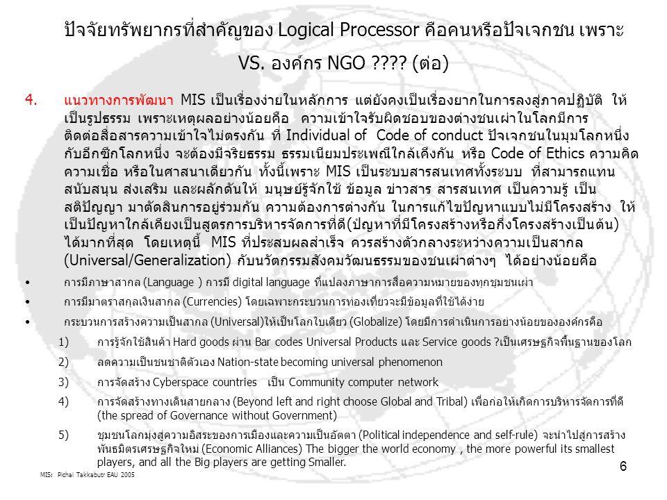MIS: Pichai Takkabutr EAU 2005 6 ปัจจัยทรัพยากรที่สำคัญของ Logical Processor คือคนหรือปัจเจกชน เพราะ VS. องค์กร NGO ???? (ต่อ) 4.แนวทางการพัฒนา MIS เป