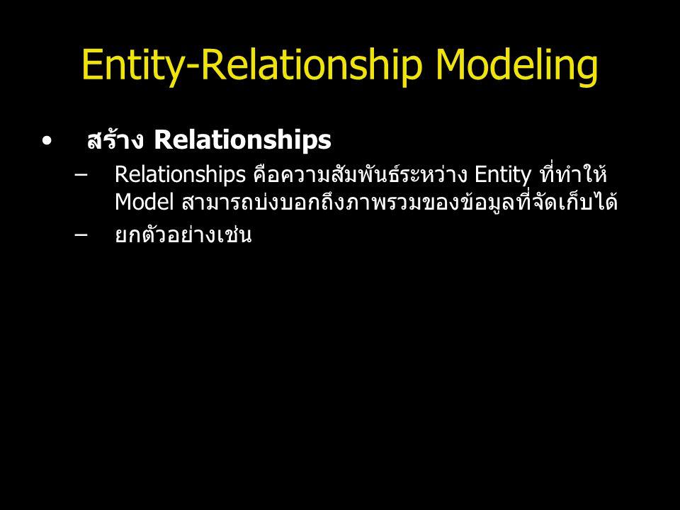 Entity-Relationship Modeling สร้าง Relationships –Relationships คือความสัมพันธ์ระหว่าง Entity ที่ทำให้ Model สามารถบ่งบอกถึงภาพรวมของข้อมูลที่จัดเก็บไ