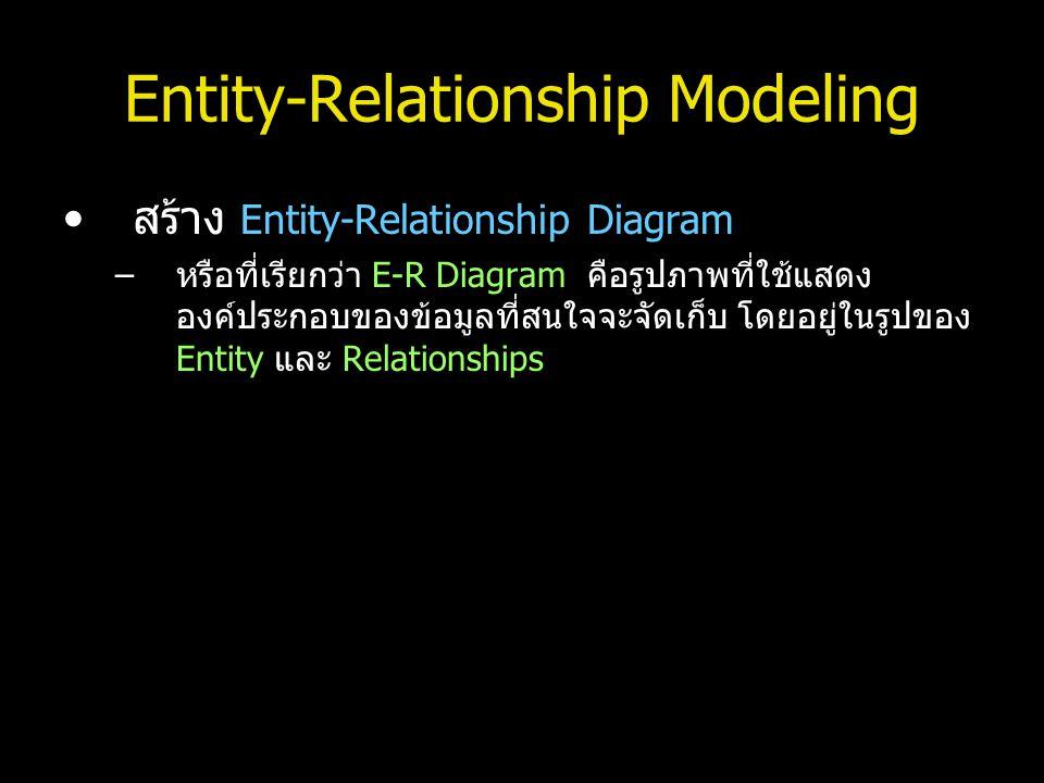 Entity-Relationship Modeling สร้าง Entity-Relationship Diagram –หรือที่เรียกว่า E-R Diagram คือรูปภาพที่ใช้แสดง องค์ประกอบของข้อมูลที่สนใจจะจัดเก็บ โด