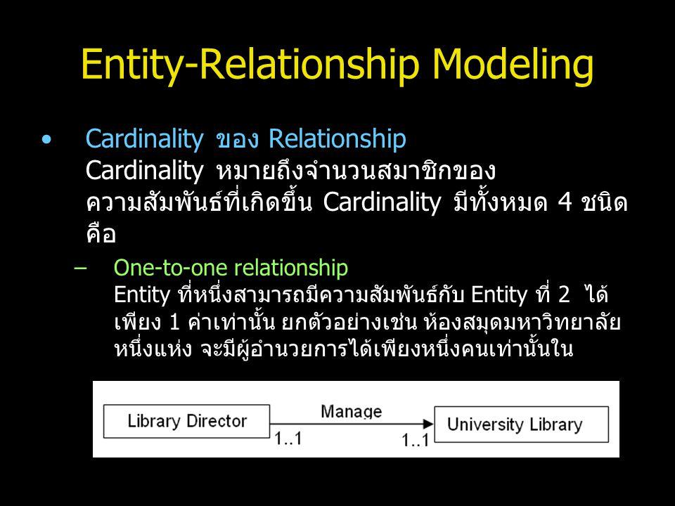 Entity-Relationship Modeling Cardinality ของ Relationship Cardinality หมายถึงจำนวนสมาชิกของ ความสัมพันธ์ที่เกิดขึ้น Cardinality มีทั้งหมด 4 ชนิด คือ –