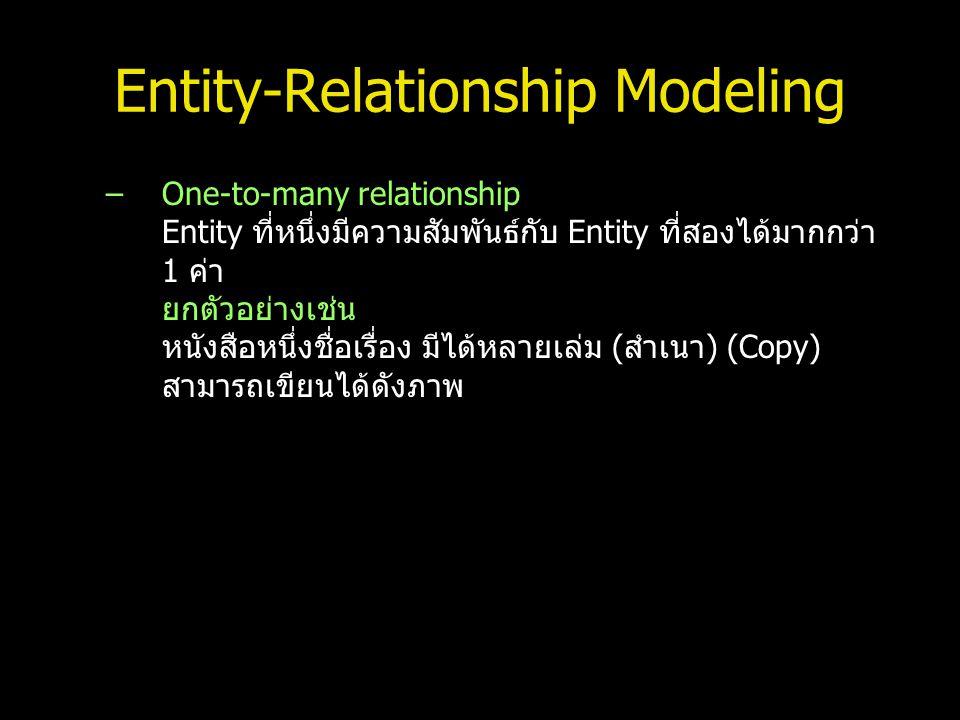 Entity-Relationship Modeling –One-to-many relationship Entity ที่หนึ่งมีความสัมพันธ์กับ Entity ที่สองได้มากกว่า 1 ค่า ยกตัวอย่างเช่น หนังสือหนึ่งชื่อเ