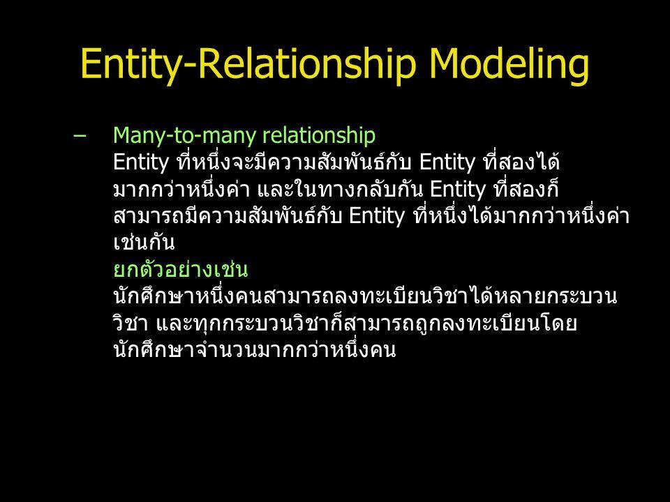 Entity-Relationship Modeling –Many-to-many relationship Entity ที่หนึ่งจะมีความสัมพันธ์กับ Entity ที่สองได้ มากกว่าหนึ่งค่า และในทางกลับกัน Entity ที่
