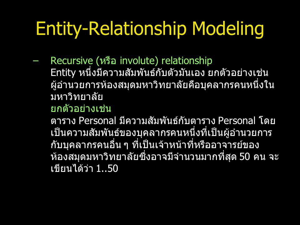 Entity-Relationship Modeling –Recursive (หรือ involute) relationship Entity หนึ่งมีความสัมพันธ์กับตัวมันเอง ยกตัวอย่างเช่น ผู้อำนวยการห้องสมุดมหาวิทยา