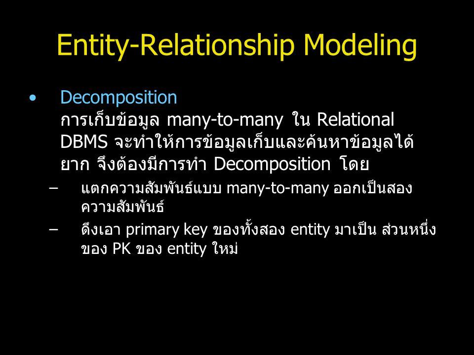 Entity-Relationship Modeling Decomposition การเก็บข้อมูล many-to-many ใน Relational DBMS จะทำให้การข้อมูลเก็บและค้นหาข้อมูลได้ ยาก จึงต้องมีการทำ Deco
