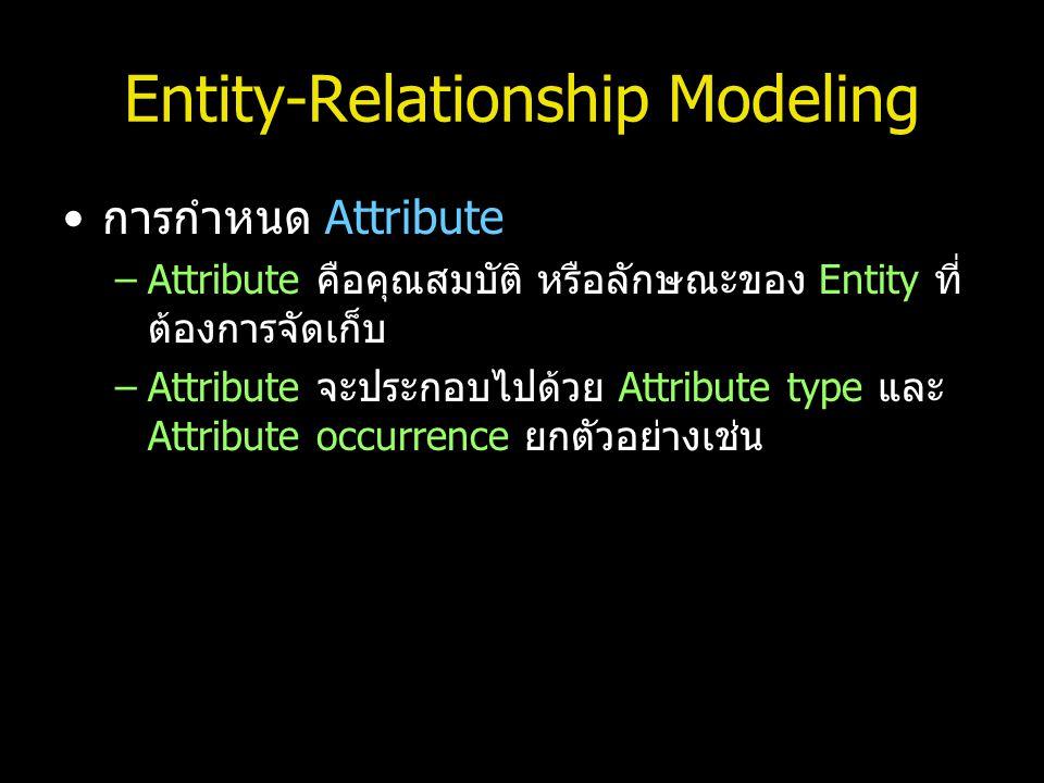 Entity-Relationship Modeling การกำหนด Attribute –Attribute คือคุณสมบัติ หรือลักษณะของ Entity ที่ ต้องการจัดเก็บ –Attribute จะประกอบไปด้วย Attribute ty