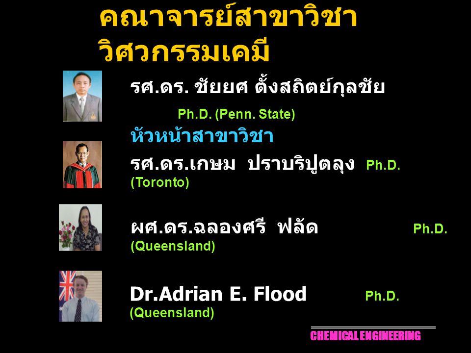 1 คณาจารย์สาขาวิชา วิศวกรรมเคมี รศ. ดร. ชัยยศ ตั้งสถิตย์กุลชัย Ph.D. (Penn. State) หัวหน้าสาขาวิชา รศ. ดร. เกษม ปราบริปูตลุง Ph.D. (Toronto) ผศ. ดร. ฉ
