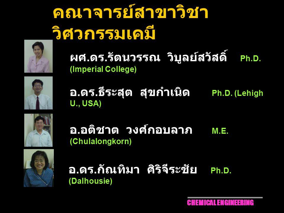 2 ผศ. ดร. รัตนวรรณ วิบูลย์สวัสดิ์ Ph.D. (Imperial College) อ. ดร. ธีระสุต สุขกำเนิด Ph.D. (Lehigh U., USA) อ. อติชาต วงศ์กอบลาภ M.E. (Chulalongkorn) ค