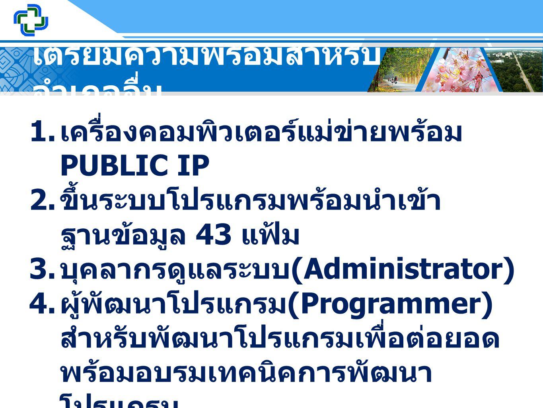 เตรียมความพร้อมสำหรับ อำเภออื่น 1. เครื่องคอมพิวเตอร์แม่ข่ายพร้อม PUBLIC IP 2. ขึ้นระบบโปรแกรมพร้อมนำเข้า ฐานข้อมูล 43 แฟ้ม 3. บุคลากรดูแลระบบ (Admini