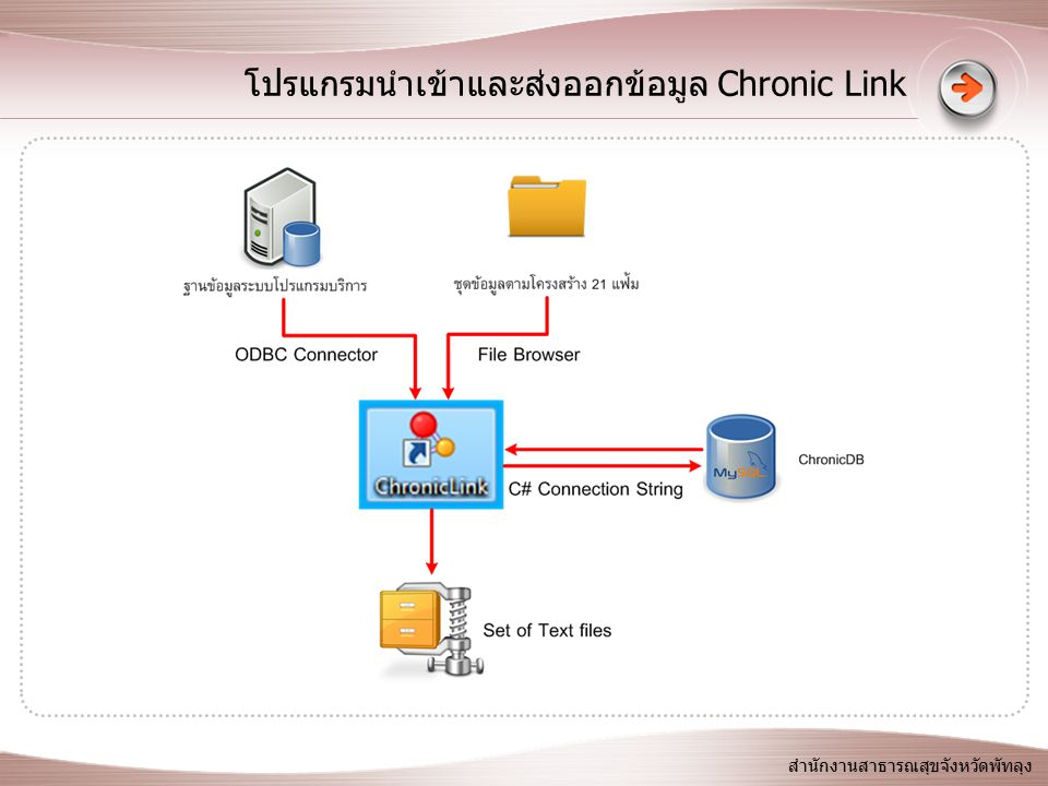โปรแกรมนำเข้าและส่งออกข้อมูล Chronic Link สำนักงานสาธารณสุขจังหวัดพัทลุง