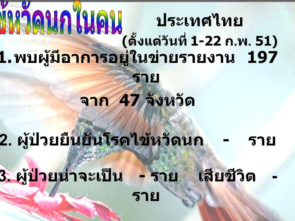ประเทศไทย ( ตั้งแต่วันที่ 1-22 ก. พ. 51) 1.