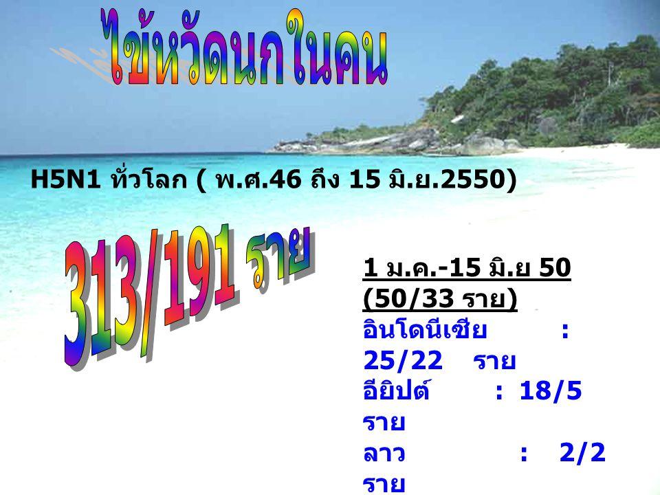 H5N1 ทั่วโลก ( พ. ศ.46 ถึง 15 มิ. ย.2550) 1 ม. ค.-15 มิ. ย 50 (50/33 ราย ) อินโดนีเซีย : 25/22 ราย อียิปต์ : 18/5 ราย ลาว : 2/2 ราย จีน : 3/2 ราย ไนจี