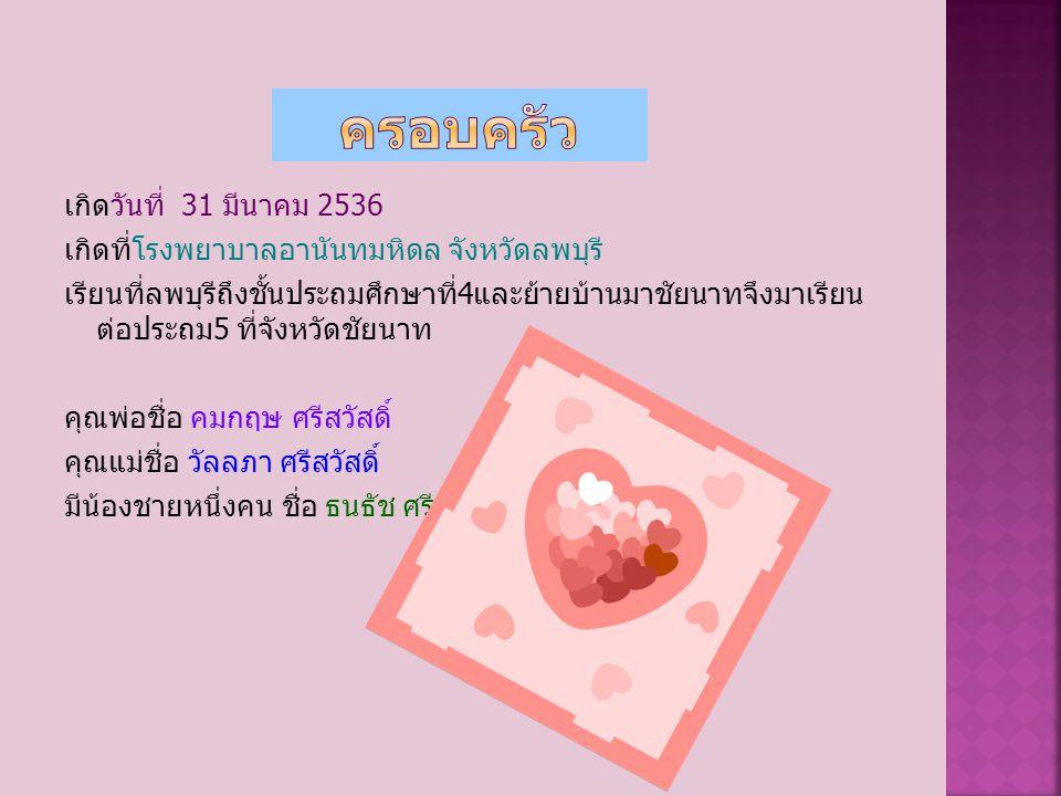 เกิดวันที่ 31 มีนาคม 2536 เกิดที่โรงพยาบาลอานันทมหิดล จังหวัดลพบุรี เรียนที่ลพบุรีถึงชั้นประถมศึกษาที่ 4 และย้ายบ้านมาชัยนาทจึงมาเรียน ต่อประถม 5 ที่จังหวัดชัยนาท คุณพ่อชื่อ คมกฤษ ศรีสวัสดิ์ คุณแม่ชื่อ วัลลภา ศรีสวัสดิ์ มีน้องชายหนึ่งคน ชื่อ ธนธัช ศรีสวัสดิ์