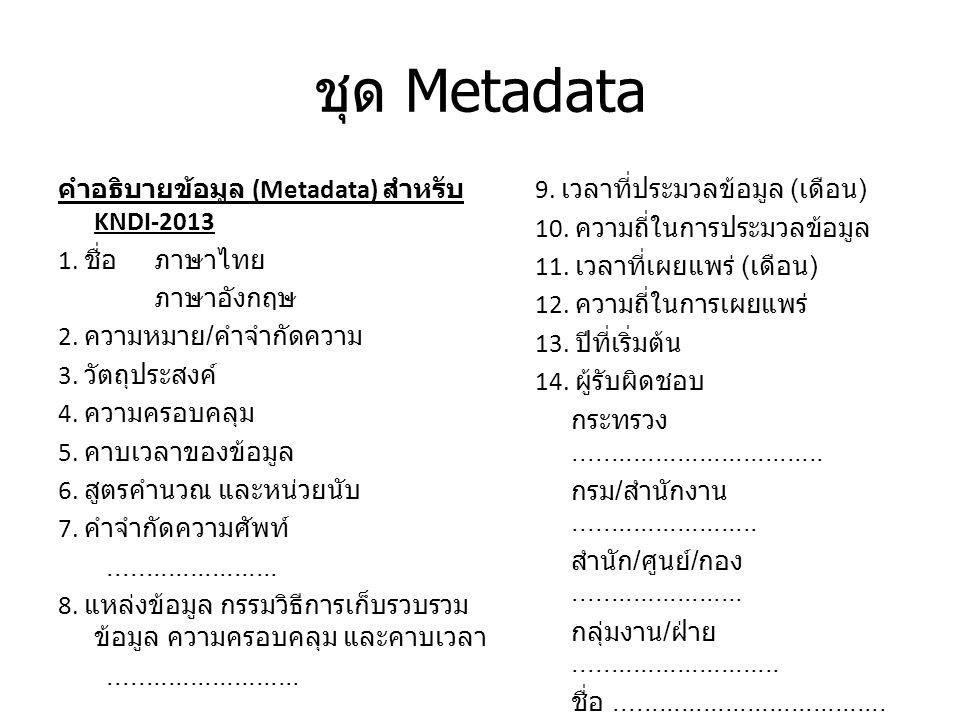 ชุด Metadata คำอธิบายข้อมูล (Metadata) สำหรับ KNDI-2013 1.