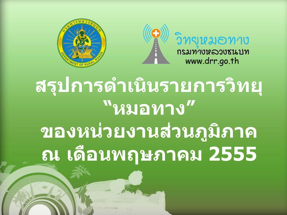 สรุปการดำเนินรายการวิทยุ หมอทาง ของหน่วยงานส่วนภูมิภาค ณ เดือนพฤษภาคม 2555