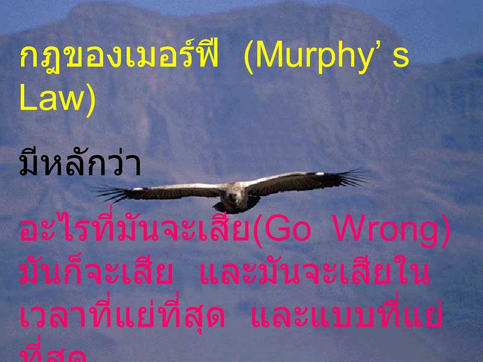 กฎของเมอร์ฟี (Murphy' s Law) มีหลักว่า อะไรที่มันจะเสีย (Go Wrong) มันก็จะเสีย และมันจะเสียใน เวลาที่แย่ที่สุด และแบบที่แย่ ที่สุด