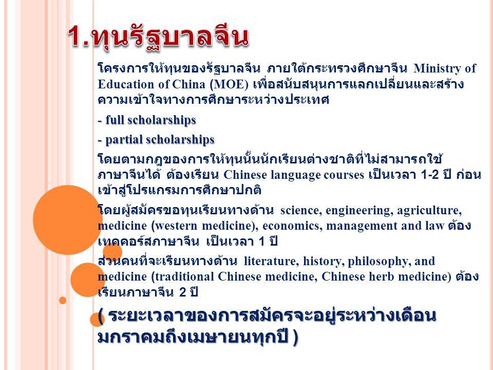 โครงการให้ทุนของรัฐบาลจีน ภายใต้กระทรวงศึกษาจีน Ministry of Education of China (MOE) เพื่อสนับสนุนการแลกเปลี่ยนและสร้าง ความเข้าใจทางการศึกษาระหว่างประเทศ - full scholarships - partial scholarships โดยตามกฎของการให้ทุนนั้นนักเรียนต่างชาติที่ไม่สามารถใช้ ภาษาจีนได้ ต้องเรียน Chinese language courses เป็นเวลา 1-2 ปี ก่อน เข้าสู่โปรแกรมการศึกษาปกติ โดยผู้สมัครขอทุนเรียนทางด้าน science, engineering, agriculture, medicine (western medicine), economics, management and law ต้อง เทคคอร์สภาษาจีน เป็นเวลา 1 ปี ส่วนคนที่จะเรียนทางด้าน literature, history, philosophy, and medicine (traditional Chinese medicine, Chinese herb medicine) ต้อง เรียนภาษาจีน 2 ปี ( ระยะเวลาของการสมัครจะอยู่ระหว่างเดือน มกราคมถึงเมษายนทุกปี )