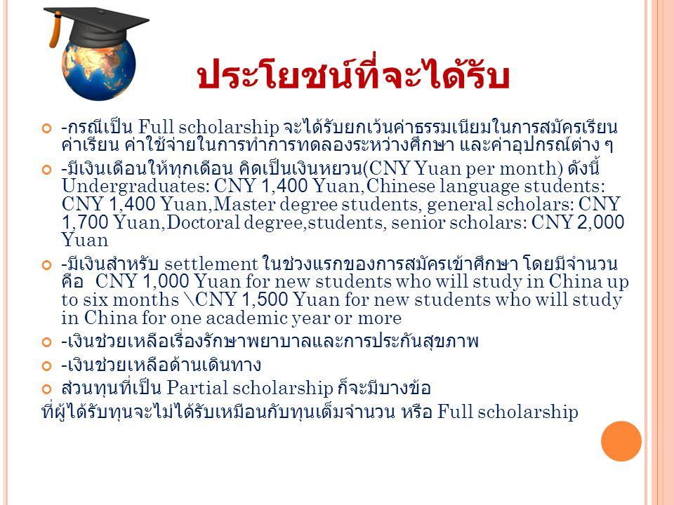 ประโยชน์ที่จะได้รับ - กรณีเป็น Full scholarship จะได้รับยกเว้นค่าธรรมเนียมในการสมัครเรียน ค่าเรียน ค่าใช้จ่ายในการทำการทดลองระหว่างศึกษา และค่าอุปกรณ์ต่าง ๆ - มีเงินเดือนให้ทุกเดือน คิดเป็นเงินหยวน (CNY Yuan per month) ดังนี้ Undergraduates: CNY 1,400 Yuan,Chinese language students: CNY 1,400 Yuan,Master degree students, general scholars: CNY 1,700 Yuan,Doctoral degree,students, senior scholars: CNY 2,000 Yuan - มีเงินสำหรับ settlement ในช่วงแรกของการสมัครเข้าศึกษา โดยมีจำนวน คือ CNY 1,000 Yuan for new students who will study in China up to six months \CNY 1,500 Yuan for new students who will study in China for one academic year or more - เงินช่วยเหลือเรื่องรักษาพยาบาลและการประกันสุขภาพ - เงินช่วยเหลือด้านเดินทาง ส่วนทุนที่เป็น Partial scholarship ก็จะมีบางข้อ ที่ผู้ได้รับทุนจะไม่ได้รับเหมือนกับทุนเต็มจำนวน หรือ Full scholarship