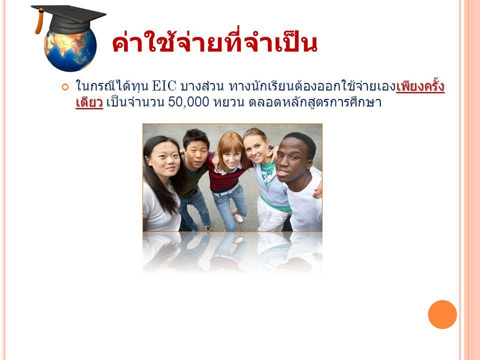 ค่าใช้จ่ายที่จำเป็น เพียงครั้ง เดียว ในกรณีได้ทุน EIC บางส่วน ทางนักเรียนต้องออกใช้จ่ายเองเพียงครั้ง เดียว เป็นจำนวน 50,000 หยวน ตลอดหลักสูตรการศึกษา