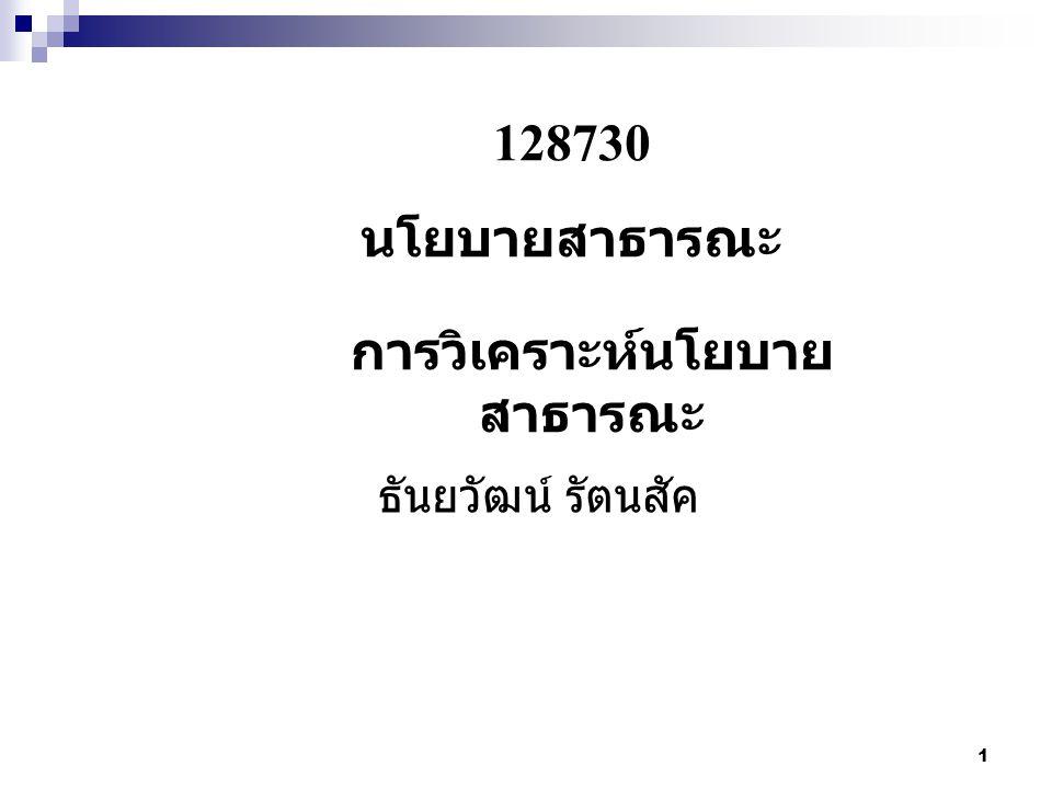 1 128730 นโยบายสาธารณะ การวิเคราะห์นโยบาย สาธารณะ ธันยวัฒน์ รัตนสัค