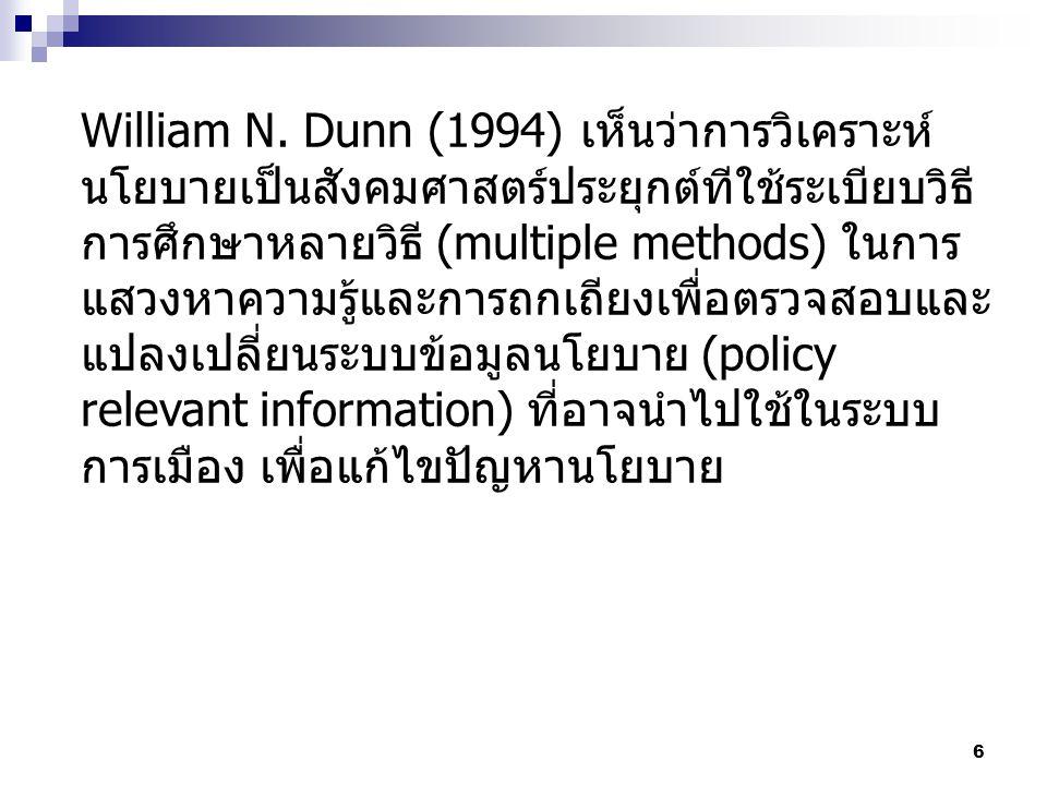 6 William N. Dunn (1994) เห็นว่าการวิเคราะห์ นโยบายเป็นสังคมศาสตร์ประยุกต์ทีใช้ระเบียบวิธี การศึกษาหลายวิธี (multiple methods) ในการ แสวงหาความรู้และก