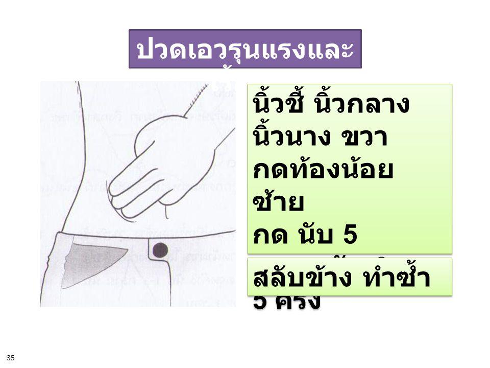 ปวดเอวรุนแรง 102 นิ้วหัวแม่มือกดฝ่า มือ ที่ต้นข้อ นิ้วหัวแม่มือด้าน นอก แรงพอประมาณ กด นับ 5 ; คลาย นับ 3 ; 5 ครั้ง นิ้วหัวแม่มือกดฝ่า มือ ที่ต้นข้อ นิ้วหัวแม่มือด้าน นอก แรงพอประมาณ กด นับ 5 ; คลาย นับ 3 ; 5 ครั้ง