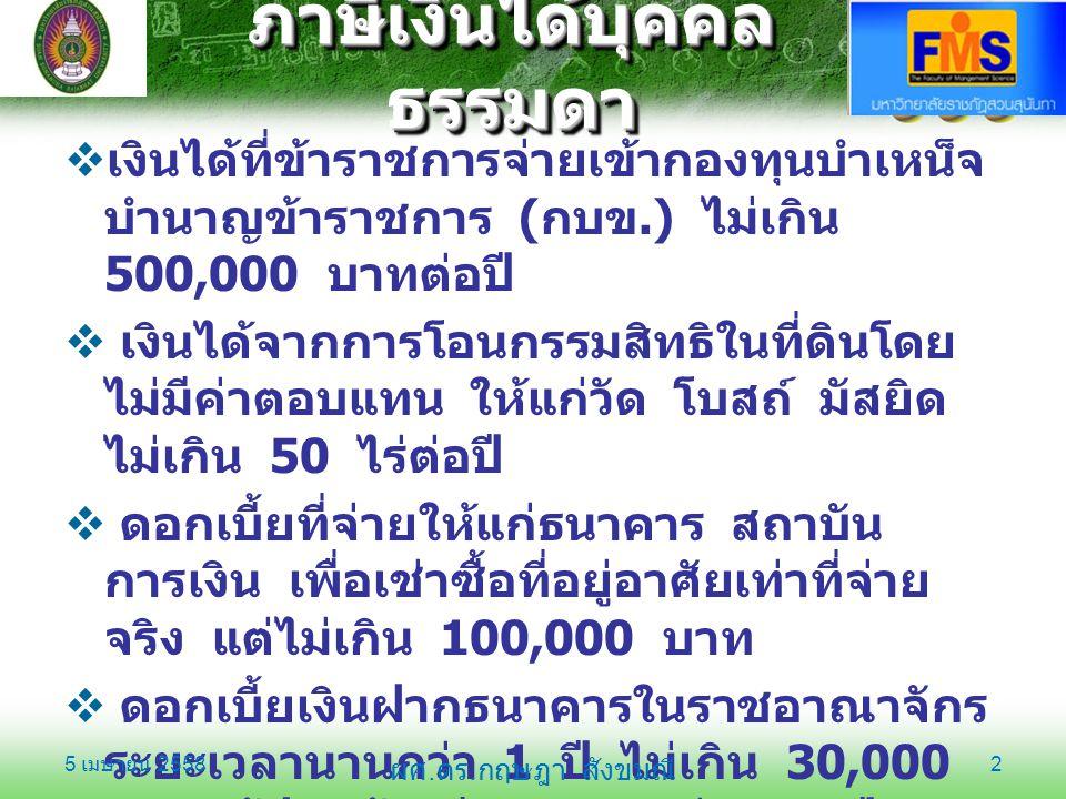 ภาษีเงินได้บุคคล ธรรมดา  เงินได้ที่ข้าราชการจ่ายเข้ากองทุนบำเหน็จ บำนาญข้าราชการ ( กบข.) ไม่เกิน 500,000 บาทต่อปี  เงินได้จากการโอนกรรมสิทธิในที่ดิน