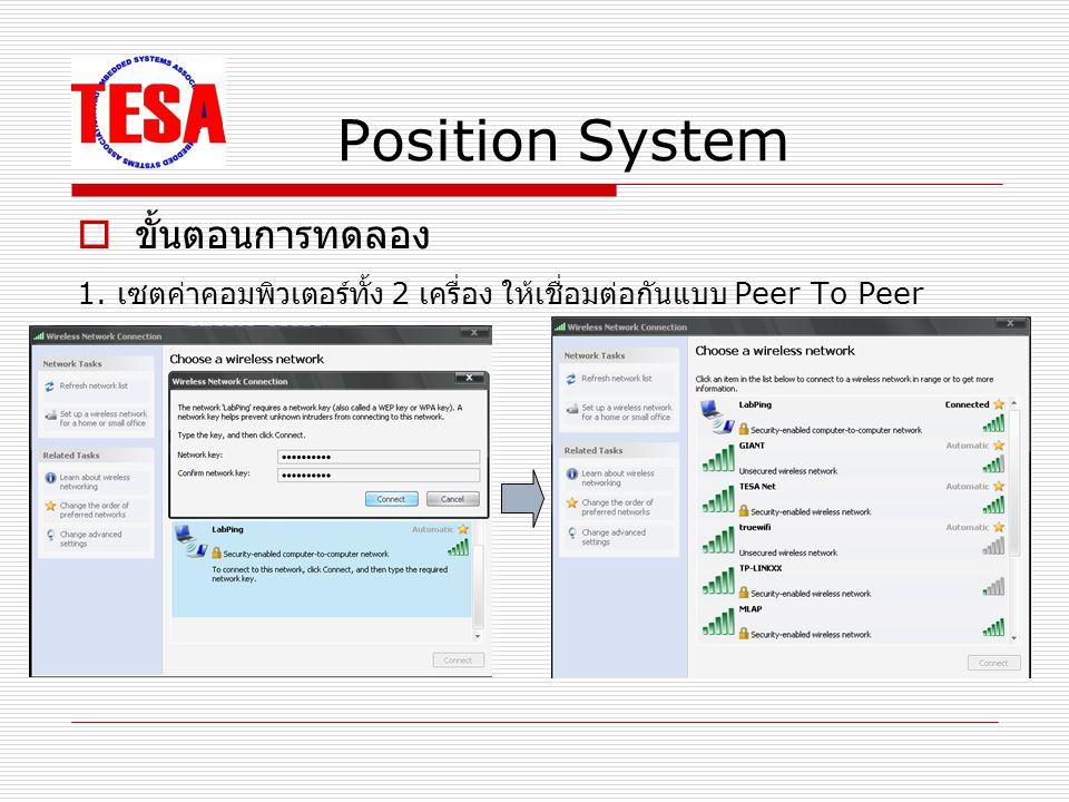 Position System  ขั้นตอนการทดลอง 2. ทดสอบการ Ping ข้อมูลถึงกัน โดยใช้คำสั่ง ping 169.254.179.96