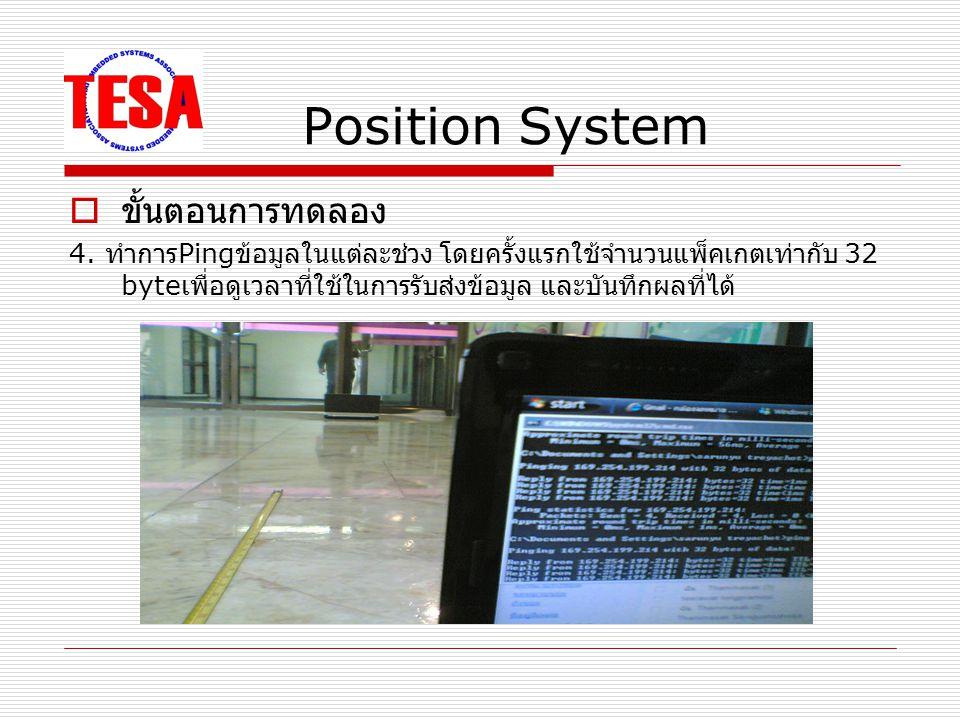 Position System  ผลการทดลอง การ Ping ข้อมูลจำนวน 32000 byte ระยะทาง ( ซ.