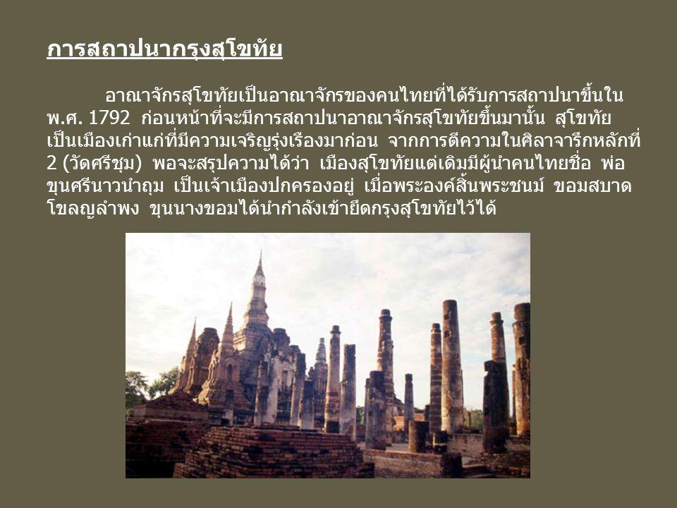 การสถาปนากรุงสุโขทัย อาณาจักรสุโขทัยเป็นอาณาจักรของคนไทยที่ได้รับการสถาปนาขึ้นใน พ.ศ. 1792 ก่อนหน้าที่จะมีการสถาปนาอาณาจักรสุโขทัยขึ้นมานั้น สุโขทัย เ