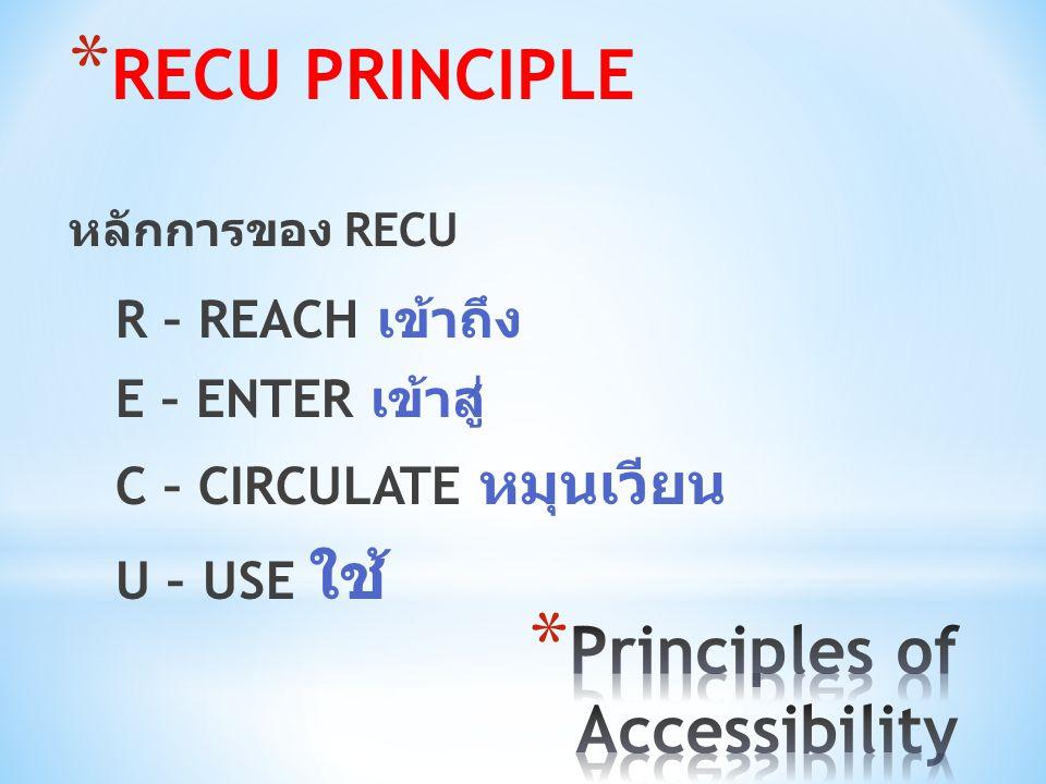 * RECU PRINCIPLE หลักการของ RECU R – REACH เข้าถึง E – ENTER เข้าสู่ C – CIRCULATE หมุนเวียน U – USE ใช้