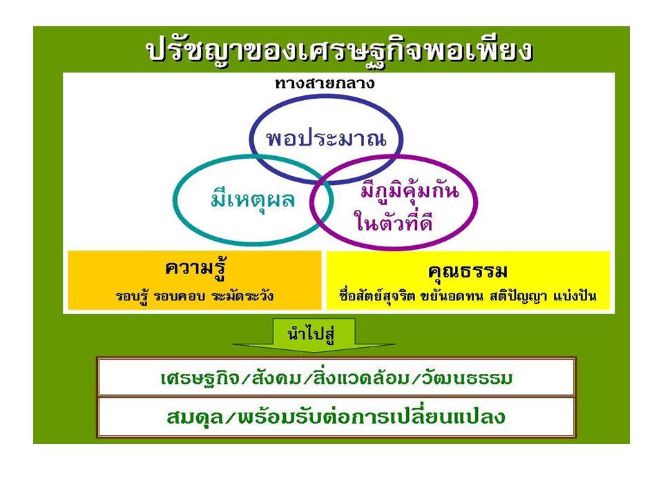 พระบาทสมเด็จพระเจ้าอยู่หัว ทรงเข้า พระราชหฤทัยในความเป็นไปของ เมืองไทยและคนไทยอย่างลึกซึ้งและ กว้างไกล ได้ทรงวางรากฐานในการ พัฒนาชนบท และช่วยเหลือประชาชน ให้สามารถพึ่งตนเองได้มีความ พออยู่ พอกิน และมีความอิสระที่จะอยู่ได้โดย ไม่ต้องติดยึดอยู่กับเทคโนโลยีและ ความเปลี่ยนแปลงของกระแส โลกาภิวัฒน์ ทรงวิเคราะห์ว่าหาก ประชาชนพึ่งตนเองได้แล้วก็จะมีส่วน ช่วยเหลือเสริมสร้างประเทศชาติโดย