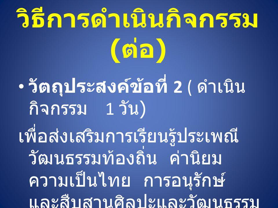 วิธีการดำเนินกิจกรรม ( ต่อ ) วัตถุประสงค์ข้อที่ 2 ( ดำเนิน กิจกรรม 1 วัน ) เพื่อส่งเสริมการเรียนรู้ประเพณี วัฒนธรรมท้องถิ่น ค่านิยม ความเป็นไทย การอนุรักษ์ และสืบสานศิลปะและวัฒนธรรม ( ศาสนา )