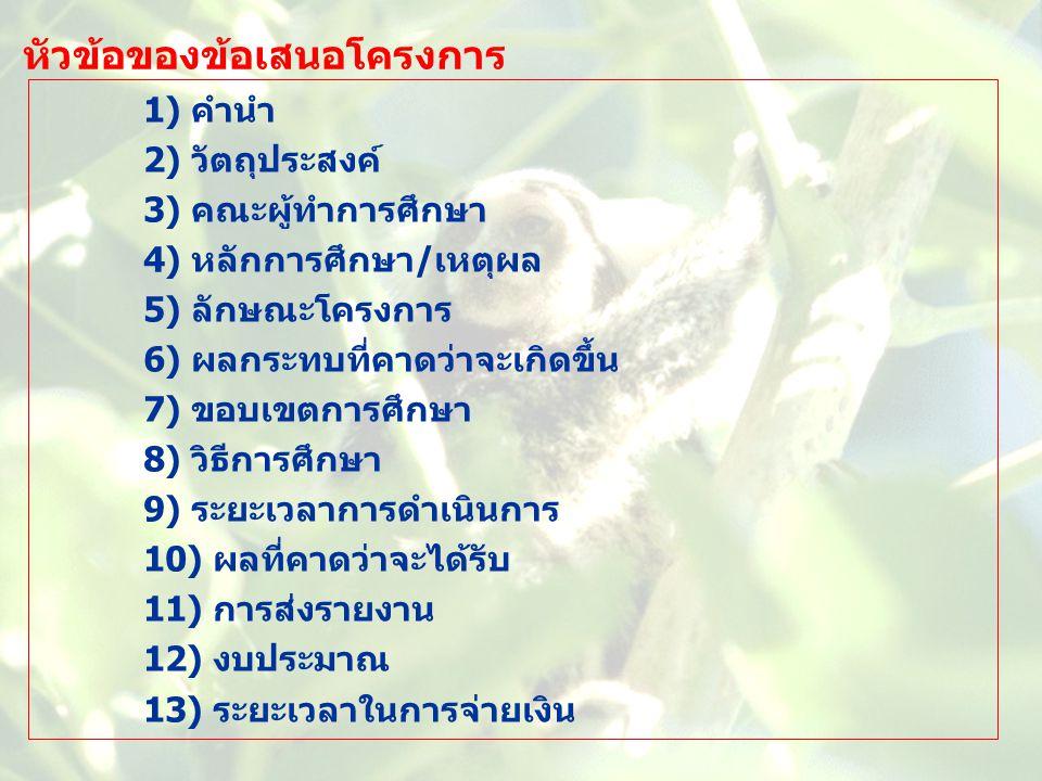 หัวข้อของข้อเสนอโครงการ 1) คำนำ 2) วัตถุประสงค์ 3) คณะผู้ทำการศึกษา 4) หลักการศึกษา/เหตุผล 5) ลักษณะโครงการ 6) ผลกระทบที่คาดว่าจะเกิดขึ้น 7) ขอบเขตการ