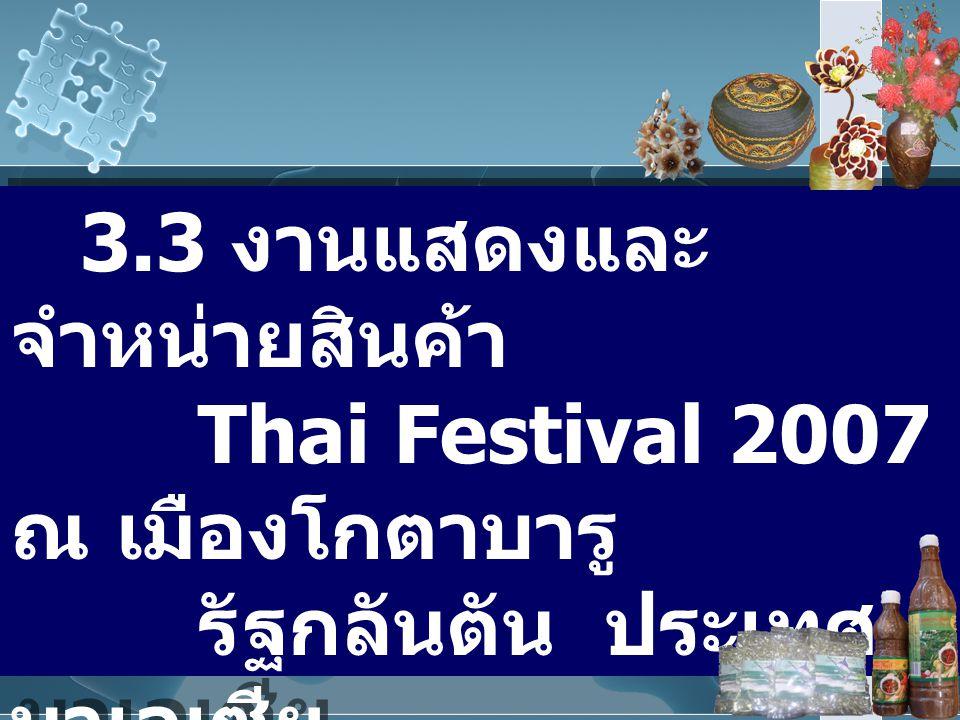 3.3 งานแสดงและ จำหน่ายสินค้า Thai Festival 2007 ณ เมืองโกตาบารู รัฐกลันตัน ประเทศ มาเลเซีย ระหว่างวันที่ 30 พฤษภาคม – 16 มิถุนายน 2550