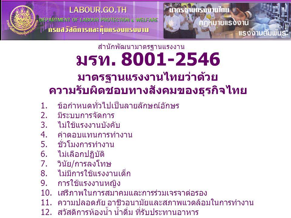 มรท. 8001-2546 มาตรฐานแรงงานไทยว่าด้วย ความรับผิดชอบทางสังคมของธุรกิจไทย 1.ข้อกำหนดทั่วไปเป็นลายลักษณ์อักษร 2.มีระบบการจัดการ 3.ไม่ใช้แรงงานบังคับ 4.ค
