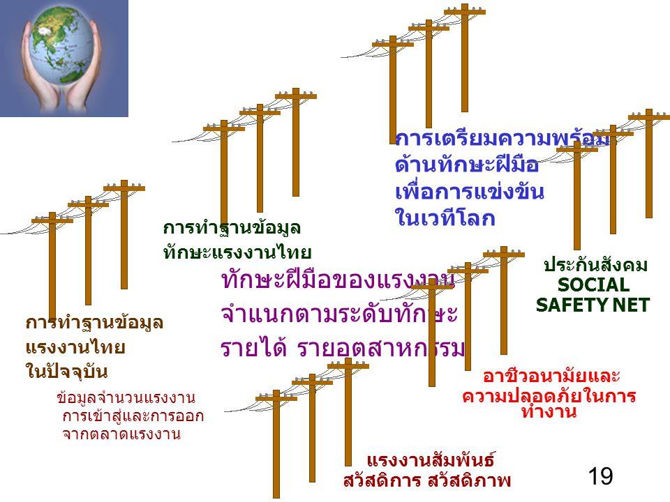 19 การทำฐานข้อมูล แรงงานไทย ในปัจจุบัน ข้อมูลจำนวนแรงงาน การเข้าสู่และการออก จากตลาดแรงงาน การทำฐานข้อมูล ทักษะแรงงานไทย ทักษะฝีมือของแรงงาน จำแนกตามร