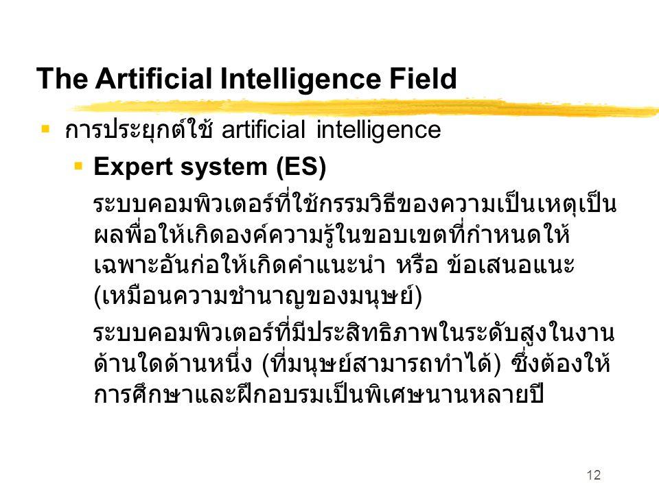 12 The Artificial Intelligence Field  การประยุกต์ใช้ artificial intelligence  Expert system (ES) ระบบคอมพิวเตอร์ที่ใช้กรรมวิธีของความเป็นเหตุเป็น ผล