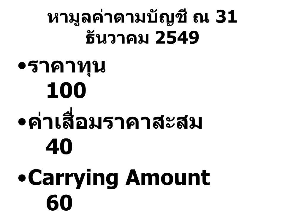 หามูลค่าตามบัญชี ณ 31 ธันวาคม 2549 ราคาทุน 100 ค่าเสื่อมราคาสะสม 40 Carrying Amount 60 40 : 100  2 : 5