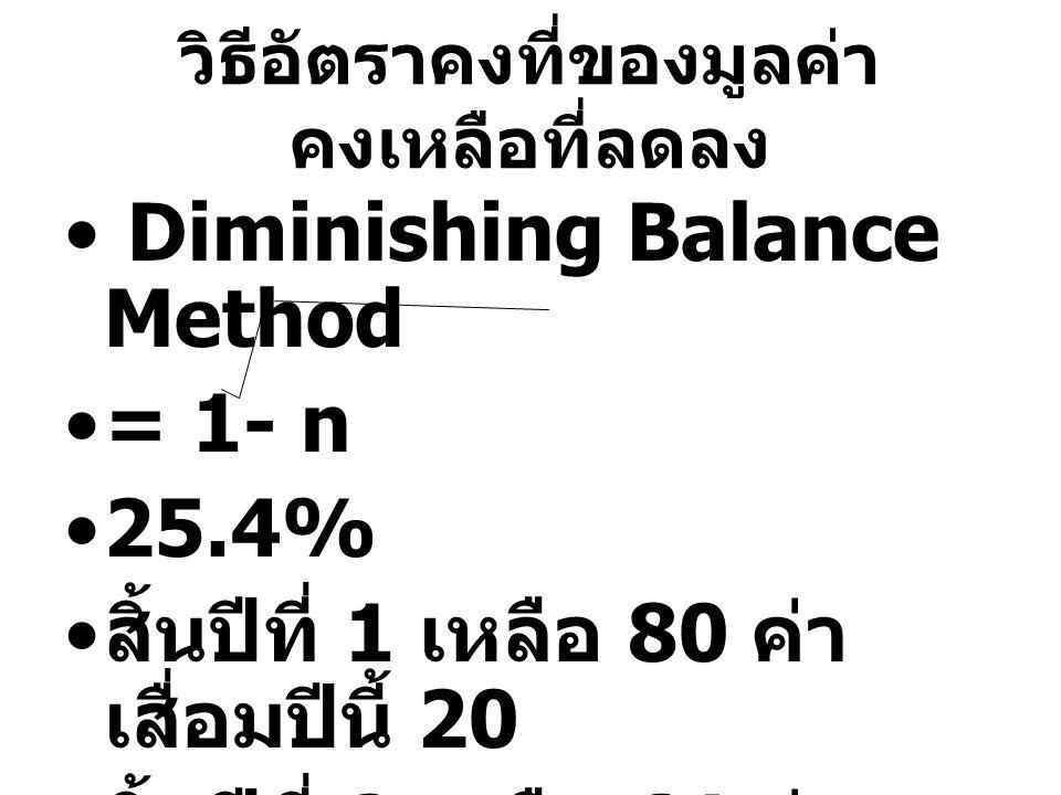 วิธีอัตราคงที่ของมูลค่า คงเหลือที่ลดลง Diminishing Balance Method = 1- n 25.4% สิ้นปีที่ 1 เหลือ 80 ค่า เสื่อมปีนี้ 20 สิ้นปีที่ 2 เหลือ 64 ค่า เสื่อม