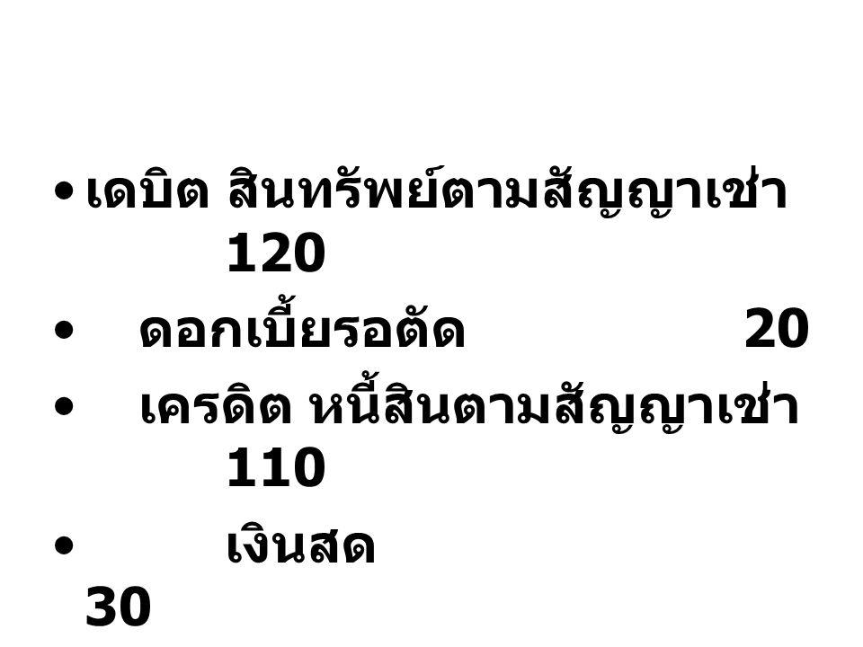 เดบิต สินทรัพย์ตามสัญญาเช่า 120 ดอกเบี้ยรอตัด 20 เครดิต หนี้สินตามสัญญาเช่า 110 เงินสด 30