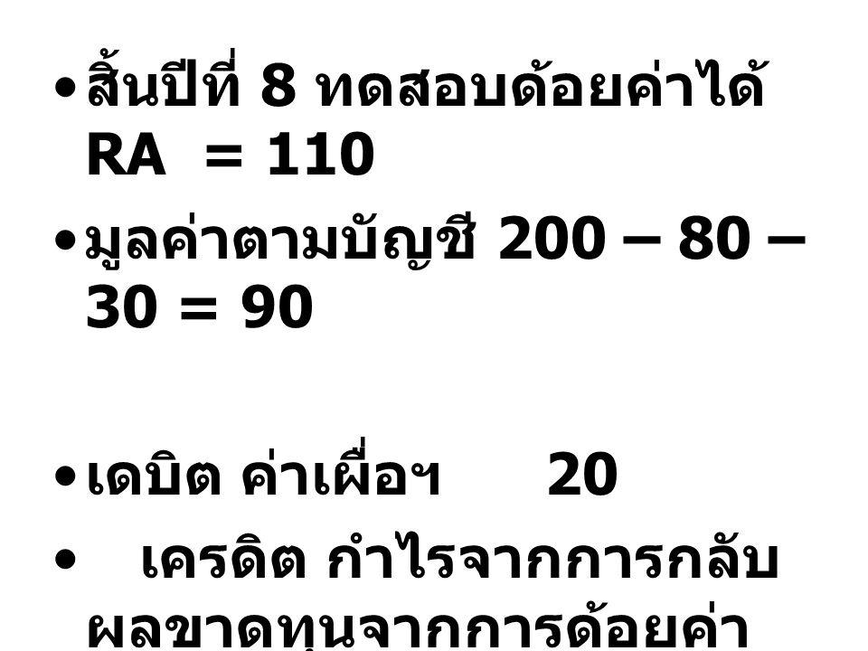 สิ้นปีที่ 8 ทดสอบด้อยค่าได้ RA = 110 มูลค่าตามบัญชี 200 – 80 – 30 = 90 เดบิต ค่าเผื่อฯ 20 เครดิต กำไรจากการกลับ ผลขาดทุนจากการด้อยค่า 20