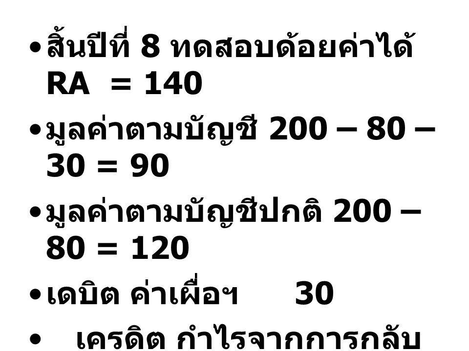 สิ้นปีที่ 8 ทดสอบด้อยค่าได้ RA = 140 มูลค่าตามบัญชี 200 – 80 – 30 = 90 มูลค่าตามบัญชีปกติ 200 – 80 = 120 เดบิต ค่าเผื่อฯ 30 เครดิต กำไรจากการกลับ ผลขา