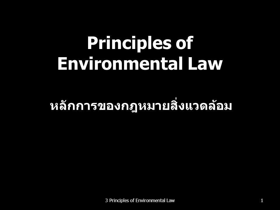 หลักการคุ้มครองและรักษาสิ่งแวดล้อม ตามกฎหมายระหว่างประเทศ หลักการว่าด้วยการคุ้มครองและรักษาสิ่งแวดล้อม ทรัพยากรธรรมชาติของโลก รวมทั้ง อากาศ น้ำ แผ่นดิน พืชและสัตว์ โดยเฉพาะอย่างยิ่งระบบ นิเวศตามธรรมชาติ จะต้องได้รับการปกป้อง เพื่อ ประโยชน์ของชนรุ่นนี้และชนรุ่นหลัง โดยการ วางแผนหรือการจัดการอย่างระมัดระวังตามความ เหมาะสม (ข้อ 2) ทรัพยากรธรรมชาติของโลก รวมทั้ง อากาศ น้ำ แผ่นดิน พืชและสัตว์ โดยเฉพาะอย่างยิ่งระบบ นิเวศตามธรรมชาติ จะต้องได้รับการปกป้อง เพื่อ ประโยชน์ของชนรุ่นนี้และชนรุ่นหลัง โดยการ วางแผนหรือการจัดการอย่างระมัดระวังตามความ เหมาะสม (ข้อ 2) 323 Principles of Environmental Law