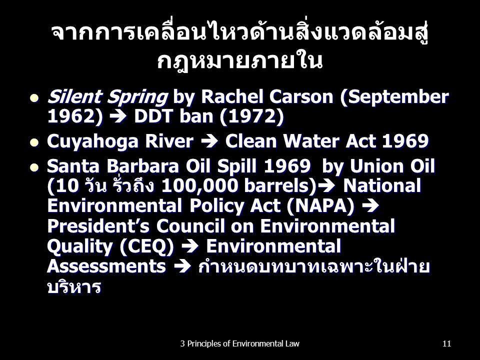จากการเคลื่อนไหวด้านสิ่งแวดล้อมสู่ กฎหมายภายใน Silent Spring by Rachel Carson (September 1962)  DDT ban (1972) Silent Spring by Rachel Carson (Septem