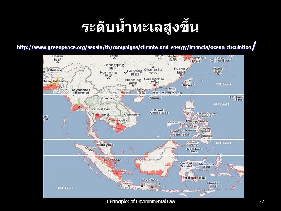 ระดับน้ำทะเลสูงขึ้น http://www.greenpeace.org/seasia/th/campaigns/climate-and-energy/impacts/ocean-circulation / 273 Principles of Environmental Law