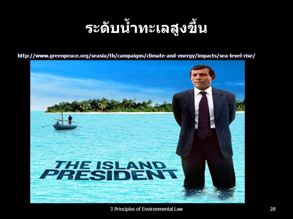 ระดับน้ำทะเลสูงขึ้น http://www.greenpeace.org/seasia/th/campaigns/climate-and-energy/impacts/sea-level-rise/ 283 Principles of Environmental Law