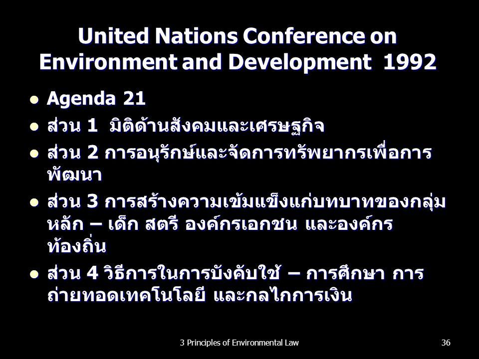 United Nations Conference on Environment and Development 1992 Agenda 21 Agenda 21 ส่วน 1 มิติด้านสังคมและเศรษฐกิจ ส่วน 1 มิติด้านสังคมและเศรษฐกิจ ส่วน
