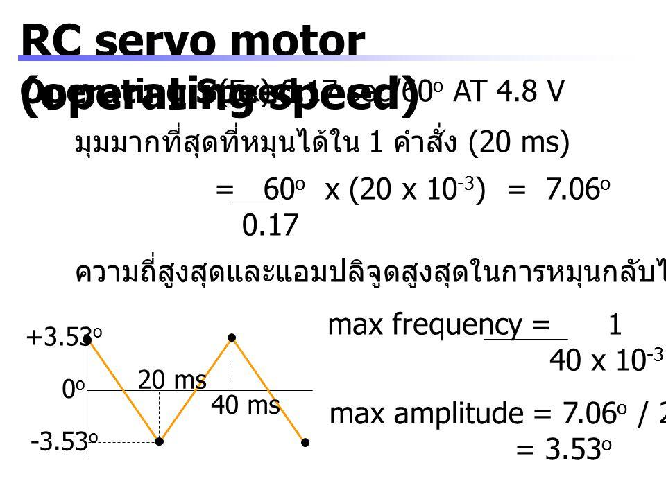 RC servo motor (operating speed) Operating Speed (Ex) 0.17 sec/60 o AT 4.8 V มุมมากที่สุดที่หมุนได้ใน 1 คำสั่ง (20 ms) = 60 o x (20 x 10 -3 ) = 7.06 o
